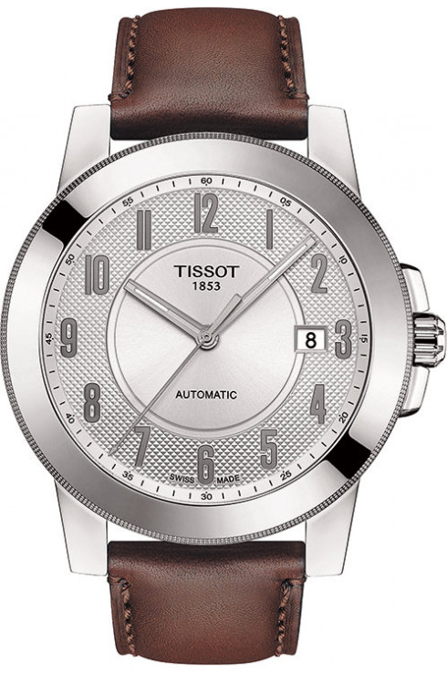 Tissot Gentleman Silver Dial Automatic Men's Leather Watch-T0984071603200