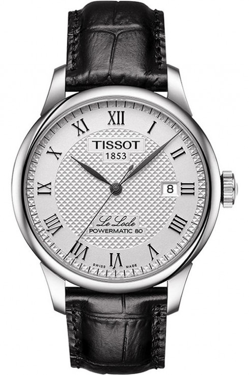 Tissot Le Locle Powermatic 80 Silver Dial Leather Men's Watch-T0064071603300