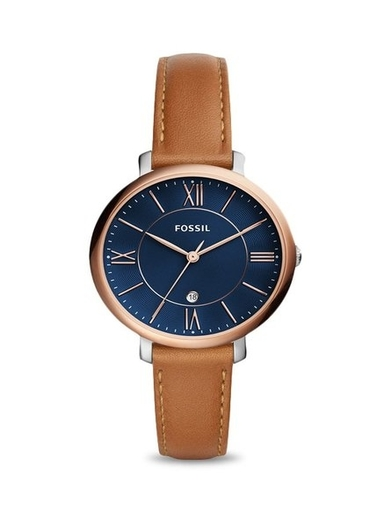 fossil jacqueline blue dial ladies leather watch-ES4274I