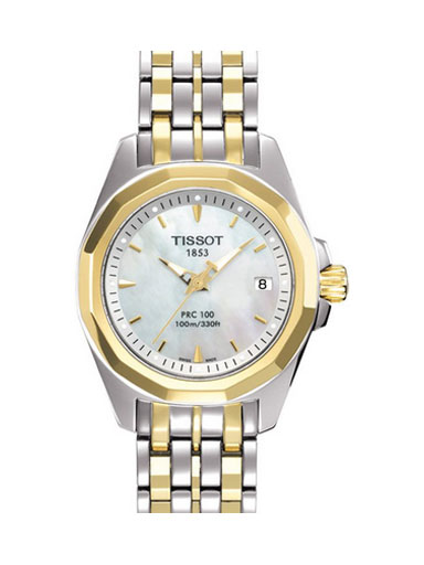 Tissot PRC 100 Mother of Pearl Dial Steel Watch For Women's-T0080102211100