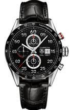 TAG Heuer Men's Carrera Stainless Steel Automatic Watch with Black Leather Band-CAR2A10.FC6235