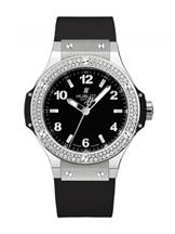 Hublot Big Bang Black Dial Diamond Black Rubber Ladies Watch-361SX1270RX1104