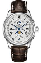 Longines Master Collection Automatic Multi-Function Silver Dial Brown Leather Mens Watch-L27394713
