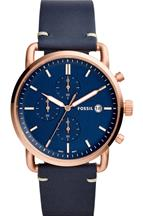 Fossil Commuter Chronograph Navy Leather Watch-FS5404I