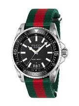 Gucci Dive Black Dial Red and Green Nylon Men's Watch-YA136206