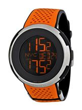 Gucci I-Gucci Sport XXL Digital Black Dial Orange Rubber Men's Watch-YA114104