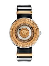 Versace Women's V-Metal Icon Two-Tone Rose Gold Dial Black Leather Quartz-VLC02 0014
