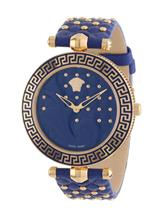 Versace Women's Vanitas Rose Gold Ion-Plated Stainless Steel Blue Genuine Leather Interchangeable Straps Watch-VK7040013