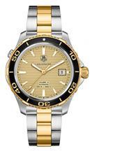 TAG Heuer Aquaracer Champagne Dial Steel and Gold Men's Watch-WAK2121.BB0835