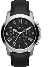 Fossil Grant Chronograph Black Leather Watch-FS4812IE