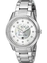 armani exchange dylann silver dial stainless steel ladies watch-AX2164I