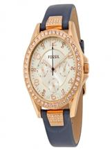 Fossil Riley Silver Dial Blue Leather Ladies Multifunction Watch-ES3887