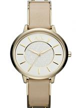 A/X Smart White Dial Beige Leather Ladies Watch-AX5301
