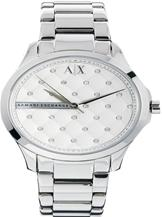 A/X Silver Quilted Crystal Dial Stainless Steel Watch-AX5208