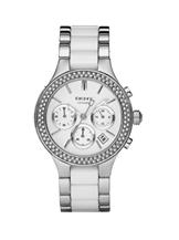 DKNY Chrono Steel and White Ceramic Ladies Watch -NY8181
